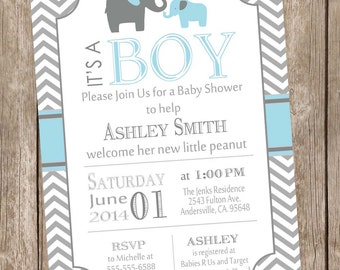 Boy elephant baby shower invitation, blue and gray baby shower invitation, chevron baby shower invitation, printable invitation bge1
