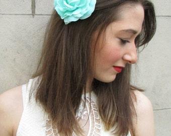 Turquoise Blue Camellia Large Rose Flower Hair Clip or Brooch Vintage 1950s Bridal Prom Rockabilly j99