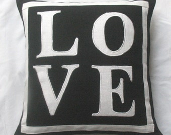 Black and white Love pillow cover 20  inch cushion cover