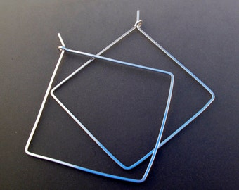 18 gauge argentium  STERLING SILVER SQUARE  hoop earrings.  2 inch . wire earrings. large square hoops.  nickel free No.00E283