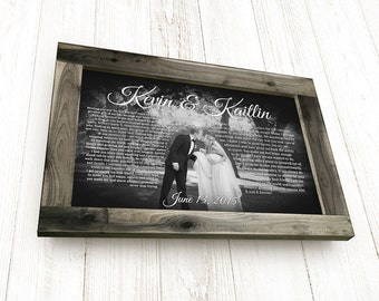 Wedding Vows Framed, Framed Wedding Vows, Wedding Vows Canvas, Framed Vows, Wedding Vows Gift with Handcrafted Barnwood Frame