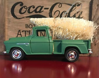 Green Truck Carrying WHITE Christmas Tree Ornament