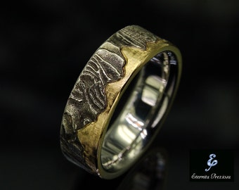 18K Gold Wedding Band, Unique Mens Ring, Rustic Wedding Ring, Unique Engagement Ring, Mens Engagement Ring, Anniversary Ring , Men's Ring
