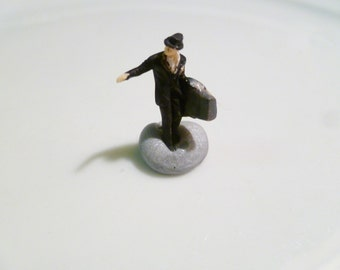 Tiny Traveling Salesman in HO Scale Perfect for Planter or Terrariums