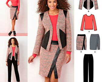 Simplicity Sewing Pattern 1324 Misses' Slim Pants, Mock Wrap Skirt, Lined Jacket and Knit Top