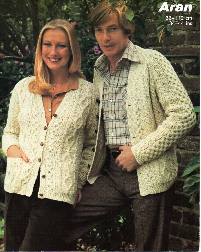 womens mens aran cardigan knitting pattern PDF ladies aran