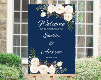 Welcome Wedding Sign Template, Navy Wedding Reception Sign, Printable Wedding Sign, Navy and White, #A051, INSTANT DOWNLOAD, Editable PDF