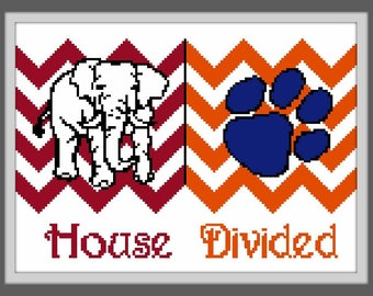 House Divided - counted cross stitch chart - downloadable file