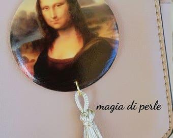 "Earrings ""INDOSSARTE"" Print on wood, mod. GIOCONDA, adorned with a silk and lurex tassel."