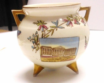 Vintage Antique British Souvenir Small Footed Bowl, Windsor Castle, British Museum