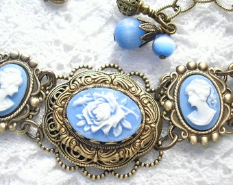 Blue Cameo Bracelet- Victorian Style Antiqued Brass Bracelet- Morning Glory Designs