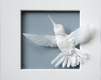 Paper Hummingbird Sculpture Art Flying Up Made to Order