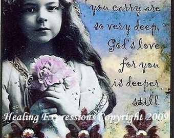 DEEPER STILL altered art therapy christian love collage vintage girl inspirational aceo atc PRINT