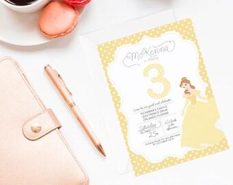 Princess Belle Invitation | Princess Belle Invite | Beauty and the Beast Invitation | Princess Party | Belle Party | Princess Birthday