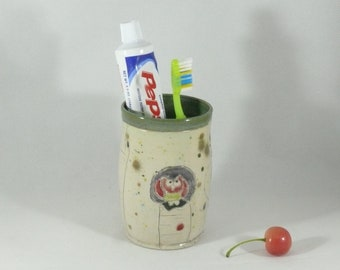 Pencil Holder Toothbrush Holder  Bathroom Decor Pen Cup Office Decor 9th anniversary gift ceramics and pottery Flower Vase Storage