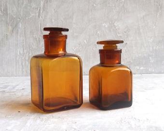 Amber glass perfume bottles