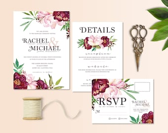 Vineyard Wedding Invitation, RSVP Postcard & Details Card; Florals, Peony, Printable Invite