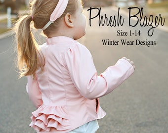 Phresh Blazer for girls size 1-14, fitted blazer with optional ruffles, straight&gathered long and 3/4 sleeve, stretch woven fabrics.