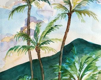 Tropical Vacation/Original Artwork, Watercolor, Modern Art, Wall Decor