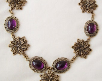 Tudor Medieval Gothic Deep Amethyst Purple & Dark Gold Flowers Necklace Choker larp ren sca Tudor Wedding