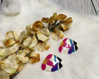 Vtg 80s Colorful Brush Stroke Floral Earrings