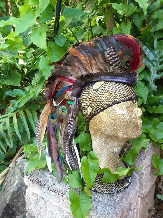 "Customizable Feather Mohawk / Headdress - ""The Shamaness"""""