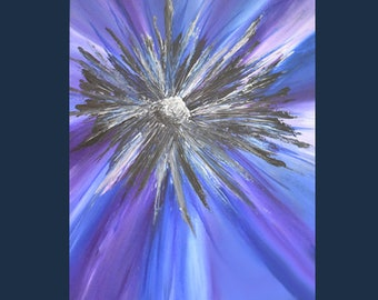 Original Acrylic Abstract Blue Flower