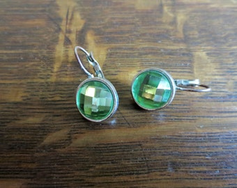 Vintage Green Sparkly Silver Metal Lever Back Pierced Earrings