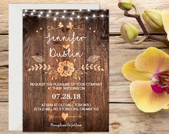 Printed Rustic Wedding Invitation, Rustic wedding, Country Wedding, Printable Wedding, Printed Invitation, Wedding invitation