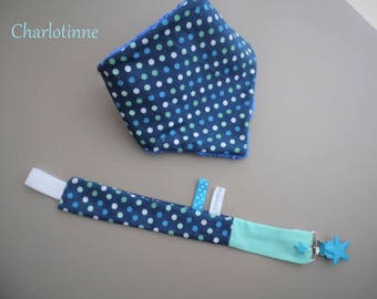 Fabric bandana bib and pacifier clip with personalized