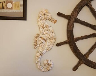 Shell Seahorse - Seahorse Shell Art - Beach Decor - Seashell Seahorse Wall Hanging - Coastal Decor - Nautical Decor