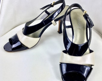 Joan & David 2 too Slingback Heels Pumps ladies Size 10 Shoes Black White Patent Leather Peep-toe shoes