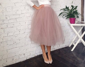 Dusty rose skirt tutu skirt tulle skirt skirt tea length  princess skirt pink tulle skirtskirt tea length engagement outfit designer dress