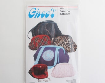 Saunter Satchel Handbag Pattern by Ghee's | Sewing pattern to make a small purse with a tubular frame closure.