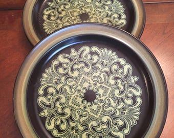 Noritake Campobello Primastone Set of 4 Salad Plates Yellow Brown Medallion Design Retro