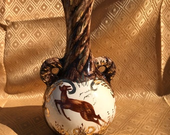 Belgium Hand Painted Handled Pottery Vase, H. Beuqet, Leaping Deer