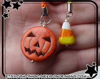 Halloween Cell Phone Charm - jack o lantern pumpkin candy corn holiday spooky orange black cellphone lanyard lariat kawaii dust plug