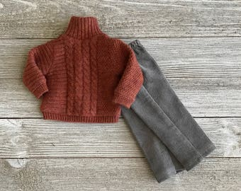 Rusty the Cable Knit sweater and pants set for 13 inch dolls like Dianna Effner Little Darlings and similar sized dolls