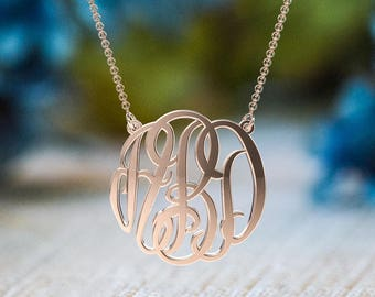 10K & 14K Solid Gold (Never Plated!) Small Personalized Monogram Name Necklace