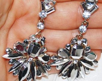 Silver Metallic Rhinestone Crystal Chandelier Earrings Pageant Prom 2.5 in Long