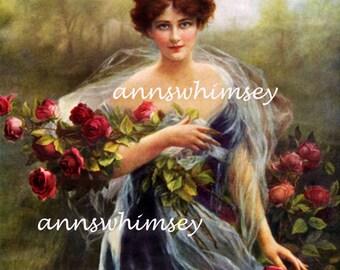 Glamour Art Print Restored Victorian Print, Beautiful Lady , Guests Room, Bedroom Art Print  #730