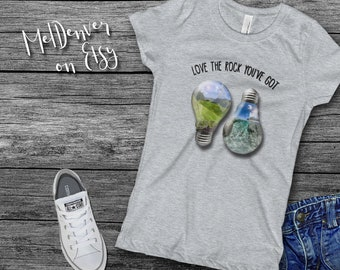 """Girl's T-Shirt """"Love the rock you've got"""" Earth Day 2018 t-shirt for the budding activist! teach them young to love the environment!"""
