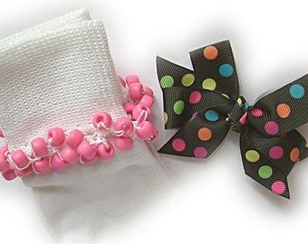 Kathy's Beaded Socks - Party Dots on Black Socks and Hairbow, girls socks, pony bead socks, hot pink socks, school socks, dots socks