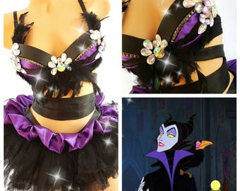 Maleficient Inspired Rave Outfit Rave Wear- Theme Wear- Dance - Costume - Halloween Costume - Custom - Theatre Costume - EDM Wear - EDC