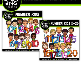 Math Number Kids 0-20 Clip Art- Cartoon - digital graphics - instant download - SVG - Vector - png clipart - math numbers