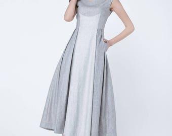 Handmade dress , linen dress, cap sleeves dress, maxi dress, high waisted dress, designer dress, pleated dress, patchwork dress 1716