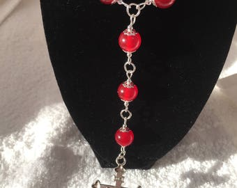 Red carnelian beaded rosary necklace