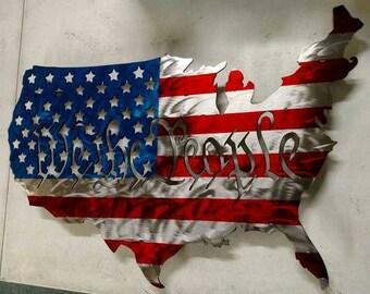 "American ""We The People"" steel United States Flag"