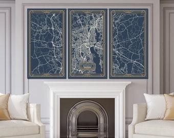 PROVIDENCE Rhode Island Map Art Deco Canvas Print Map Wall Art Canvas Print  Ready To Hang