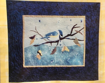 PATTERN: Winter Chickadee fusible applique  wall hanging - 2000
